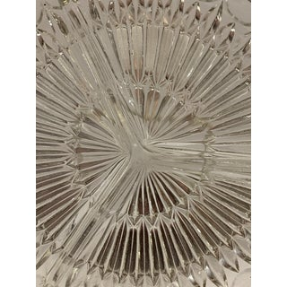 Vintage Mid-Century Modern Hand Cut Glass Divided Serving Plate With Silver Colored Metal Trim Preview