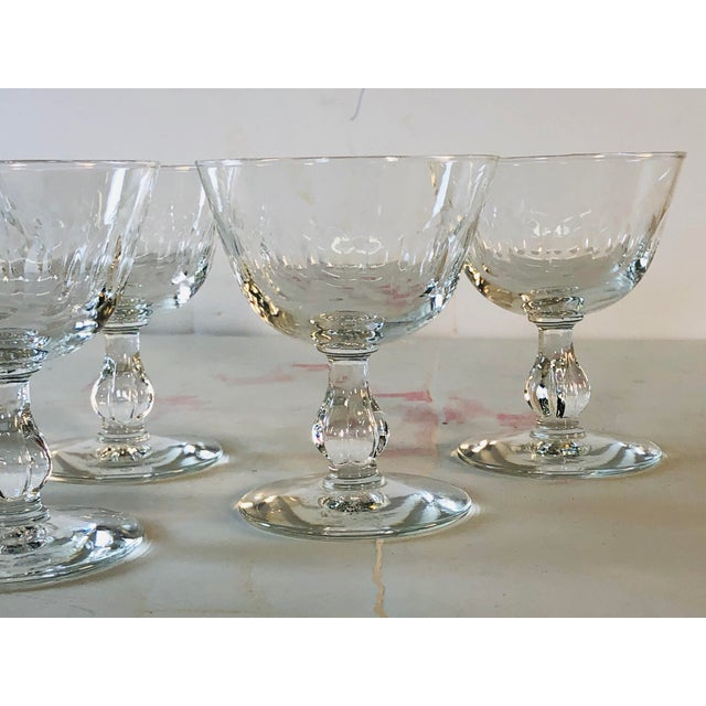 1950s Mitred Glass Coupe Stems, Set of 6 For Sale In Boston - Image 6 of 9