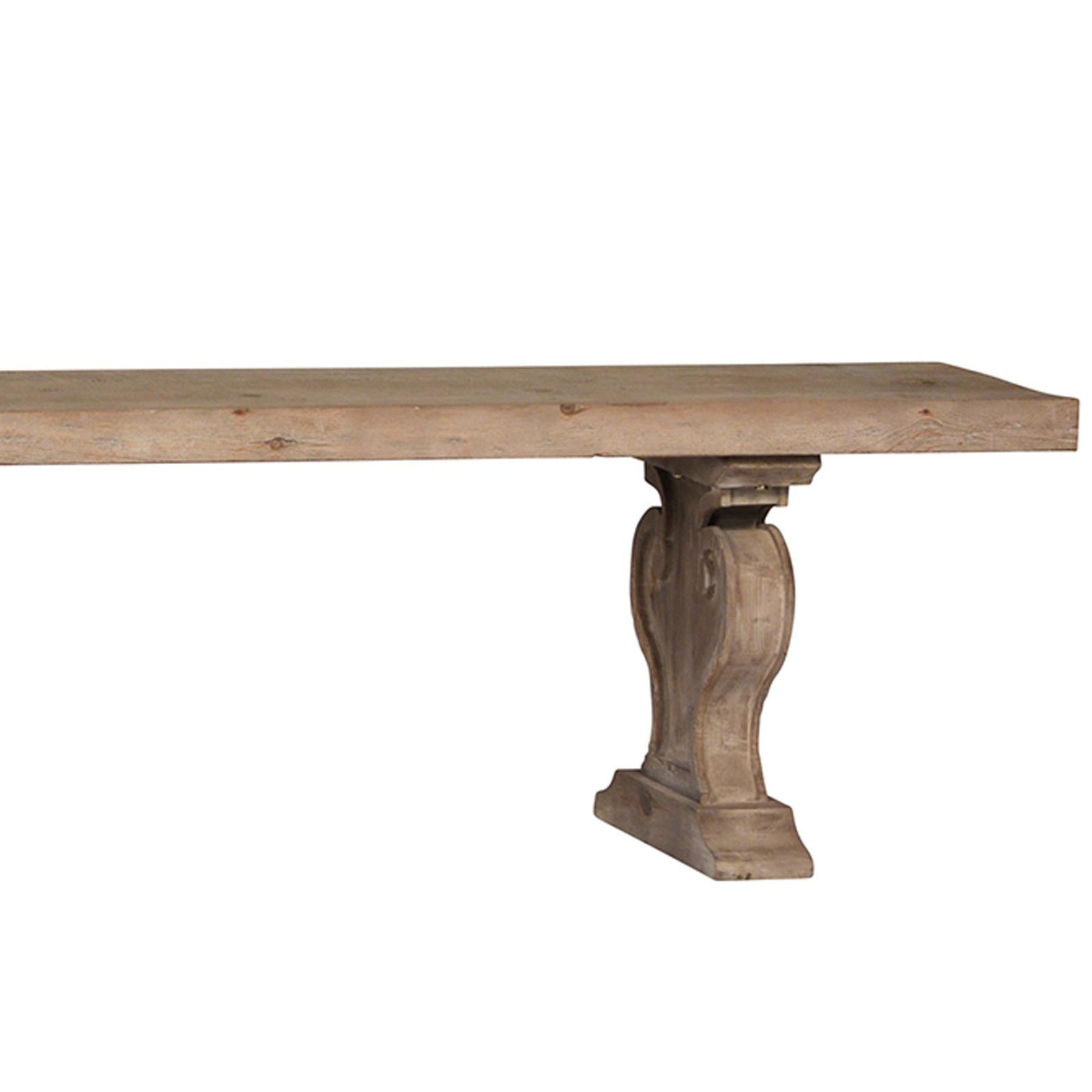 Reclaimed Old Wood Bench With Carved Legs. Classic Hear Shaped Trestle  Base. Light White
