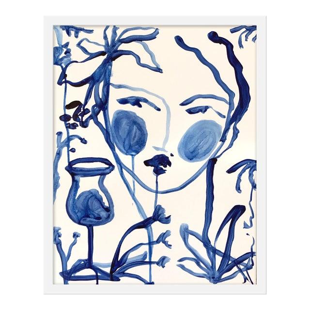 "Medium ""Flowers and Wine Indigo"" Print by Leslie Weaver, 19"" X 24"" For Sale"