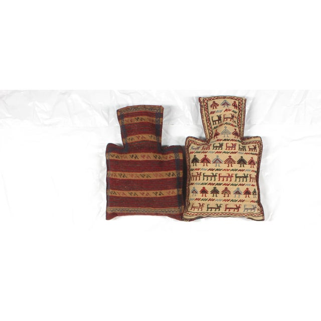 Pillows with Antique Soumak Rug Fragment - Image 3 of 3