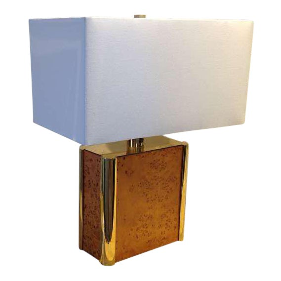 Burl-Wood and Brass Table Lamp Designed by Milo Baughman For Sale