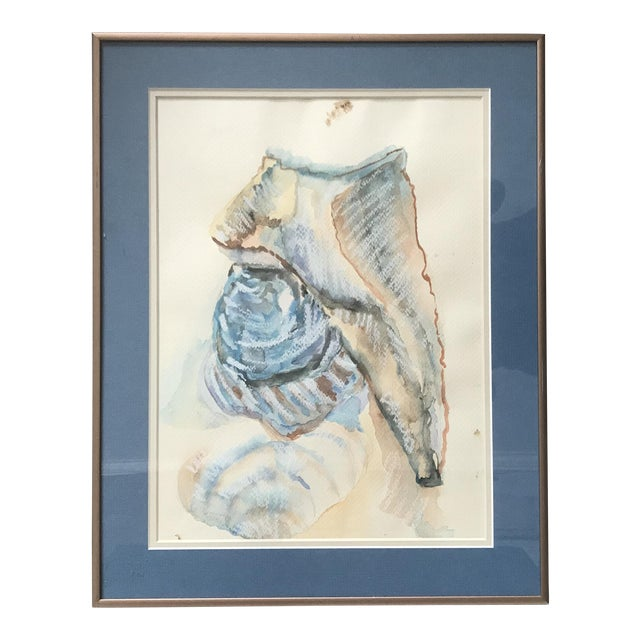 1980's Two Shells Framed Watercolor Painting - Framed and Signed Original For Sale