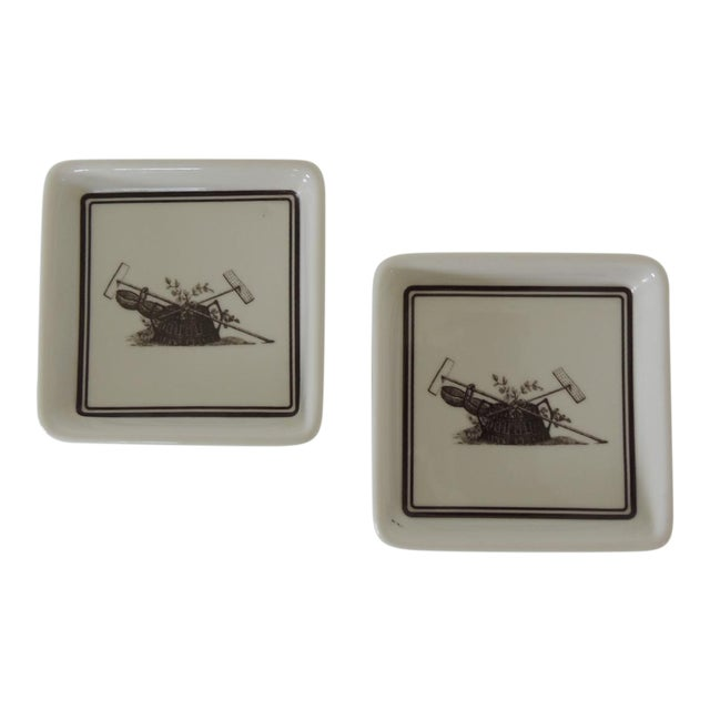 Pair of Vintage Porcelain Square Black & White Coasters With Garden Scene For Sale