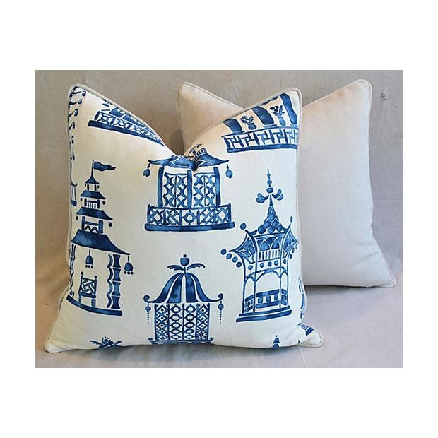 "White Blue & White Chinoiserie Pagoda Feather/Down Pillows 24"" Square - Pair For Sale - Image 8 of 11"