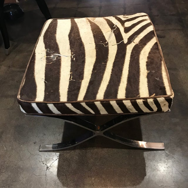 Barcelona Stools With Zebra Hide Cushions - A Pair For Sale - Image 4 of 5