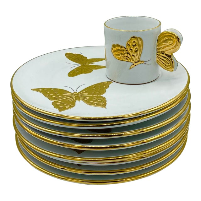 Vintage Hollywood Regency Carole Stupell Golden Butterfly Luncheon Plate and Cups - Set of 8 For Sale