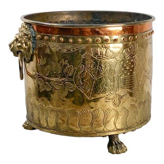 1900s Vintage Edwardian Brass and Copper Firewood Container For Sale