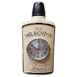Old Mr. Boston Whiskey Advertising Clock For Sale