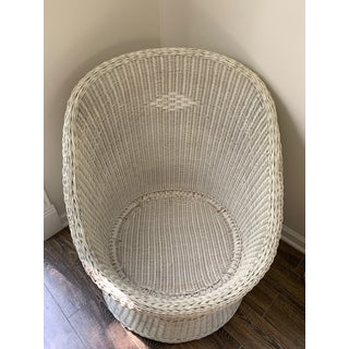 Large White Wicker Egg Cup Pod Lounge Chair Preview