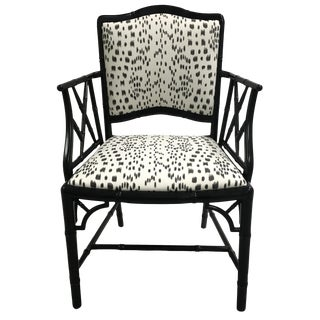 Black Faux Bamboo Brunschwig Fils Les Touches Armchair For Sale