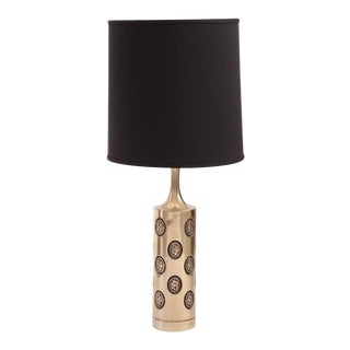 Pair of Embossed Brass Table Lamps by Laurel For Sale