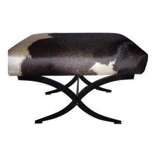 Cow Hide & Iron Bench For Sale