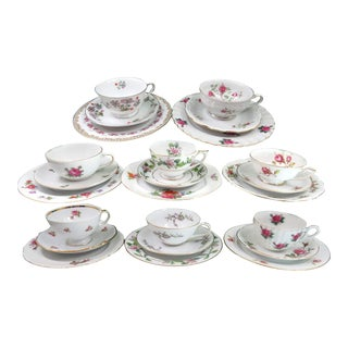 Vintage Mismatched Fine China Tea Cup Trios, 24 Pieces