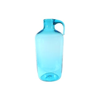 Vintage Mid-Century Indiana Glass Greenwich Flint Craft Glass Blue Jug For Sale