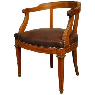Neoclassical French Empire Mahogany Barrel-Back Armchair