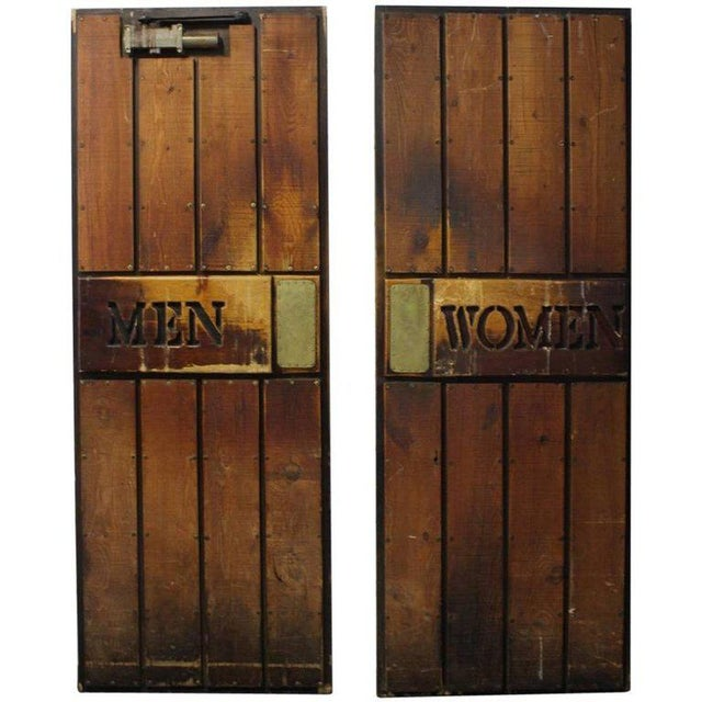 """Mid-Century Modern Vintage """"Men and Women"""" Wooden Ship Doors - A Pair For Sale - Image 3 of 3"""