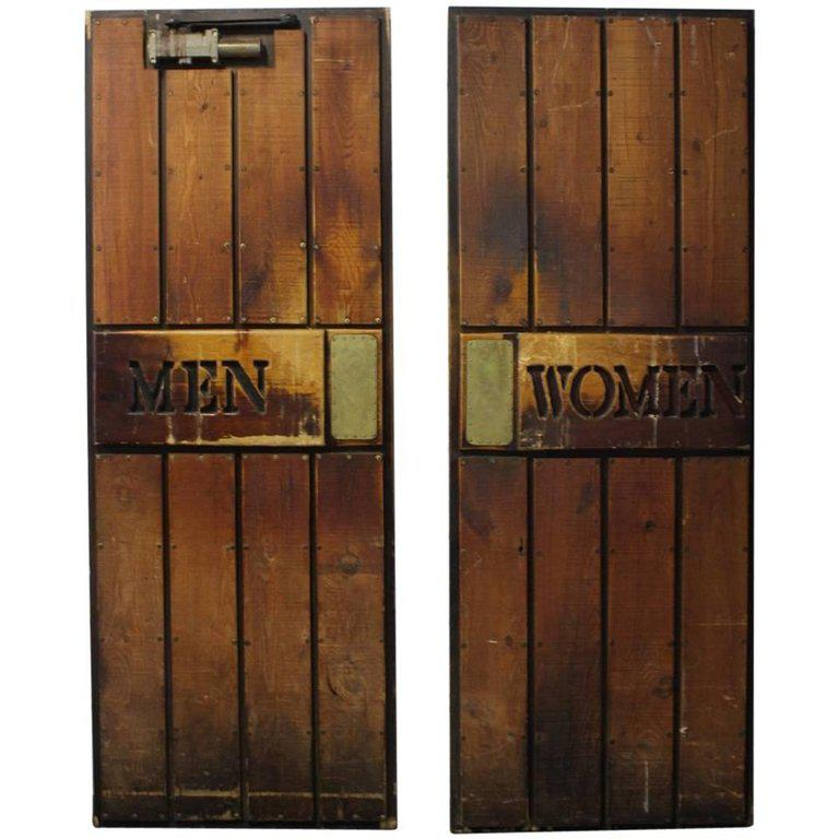 Vintage  Men and Women  Wooden Ship Doors - A Pair - Image ...  sc 1 st  Chairish & Vintage
