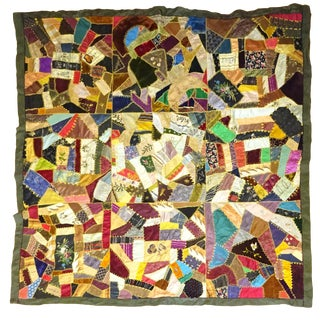 Victorian Crazy Quilt 1000's of Dressmaker's Scraps Silks and Some Velvets For Sale