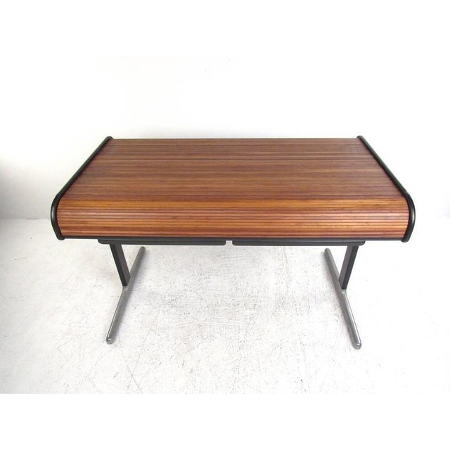 Metal George Nelson for Herman Miller Mid-Century Tambour Roll-Top Desk For Sale - Image 7 of 9