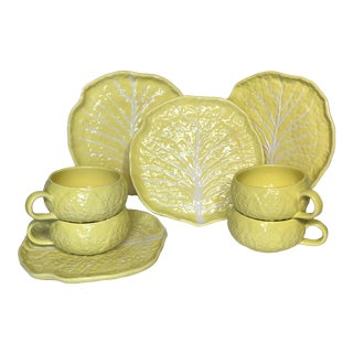 Secla Cabbage Leaf Majolica Luncheon Plates and Soup Bowls - Set of 8 For Sale