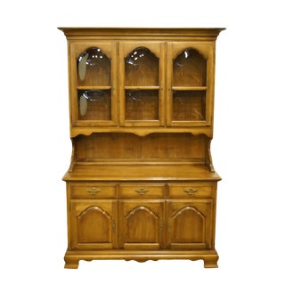 Kling Colonial Solid Hard Rock Maple Buffet With Display China Cabinet For Sale