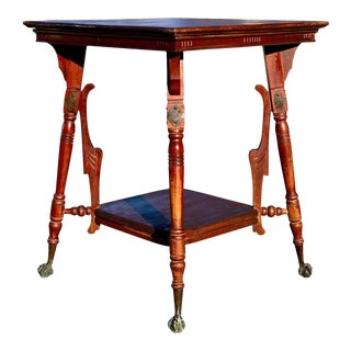 Antique Eastlake Victorian Carved Walnut Claw Foot Parlor Table For Sale