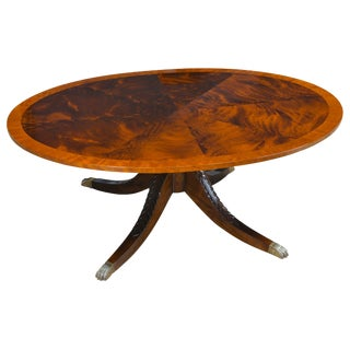 Traditional Mahogany Oval Cocktail Table For Sale