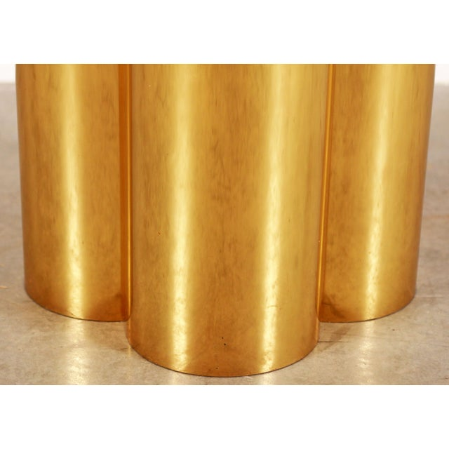 Metal Mid Century Modern Mastercraft Polished Brass Quatrefoil & Travertine Dining or Game Table For Sale - Image 7 of 11