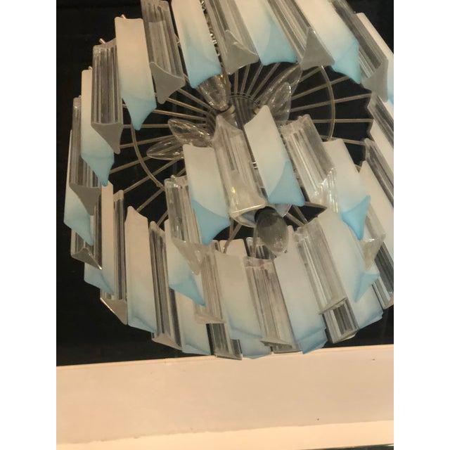 Metal Vintage Hollywood Regency Aqua Blue Lucite Chandelier For Sale - Image 7 of 11
