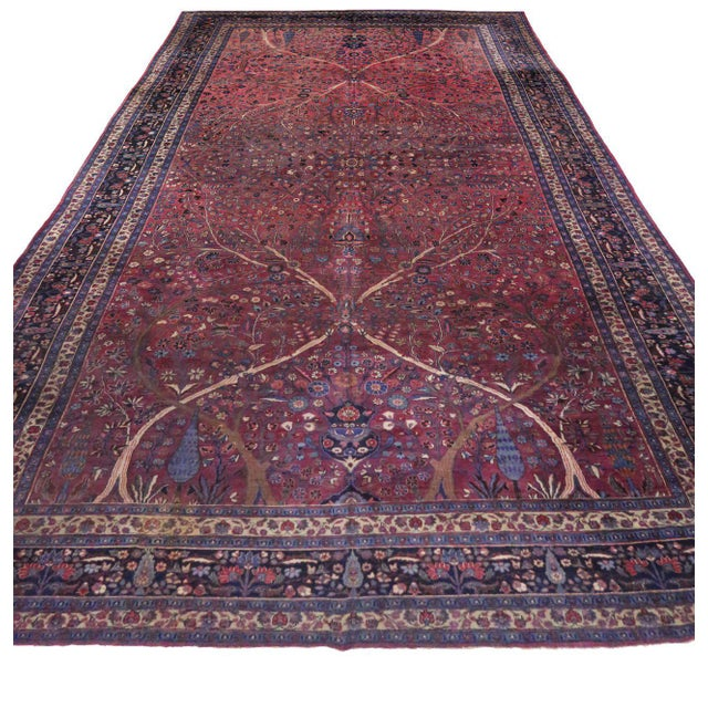 Textile Captivating Antique Persian Mashhad Gallery Rug in Jewel Tone Colors For Sale - Image 7 of 10