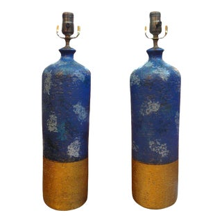 1960's Vintage Italian Aldo Londi for Bitossi Blue and Gold Pottery Lamps-Pair For Sale