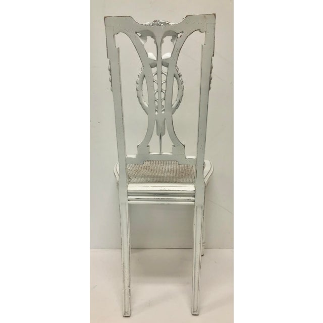 F. Louis XVI Chair Hand Carved in White For Sale In Greensboro - Image 6 of 7