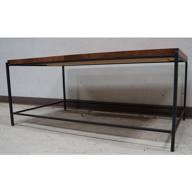 Industrial Modern Reclaimed Tiger Oak Iron Coffee Table - Image 3 of 3