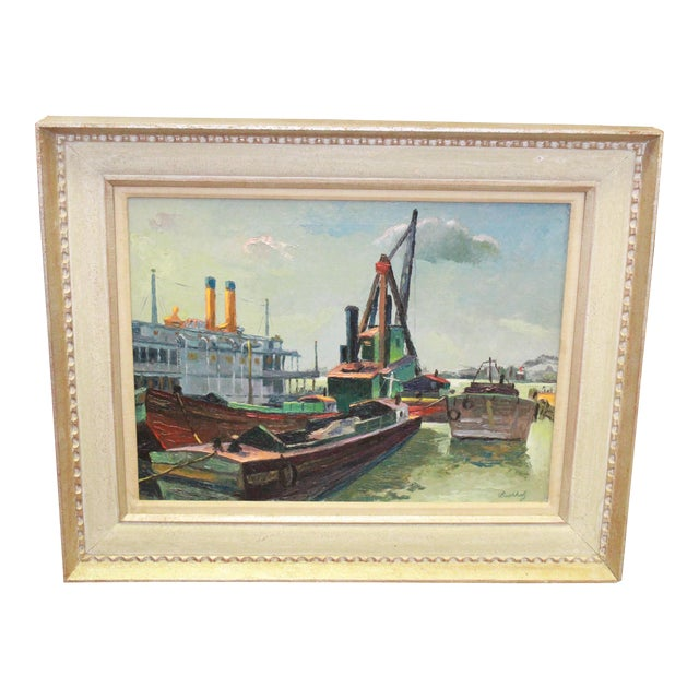 Early 20th Century Antique Buccholz Shipyard Scene Painting For Sale