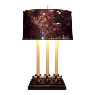 Vintage Wood and Brass Bouillotte Lamp For Sale