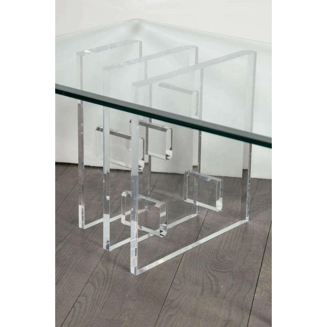 1970s Sophisticated Mid-Century Modern Lucite and Glass Cocktail Table For Sale - Image 5 of 9