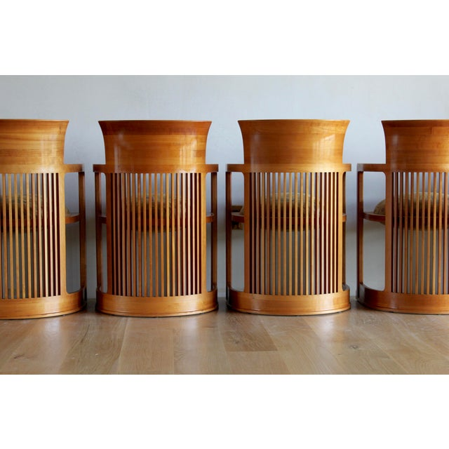 Frank Lloyd Wright Vintage 1986 Frank Lloyd Wright for Cassina Taliesin 606 Barrel Chairs - Set of 6 For Sale - Image 4 of 13