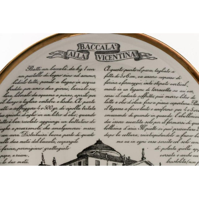 Set of 6 Piero Fornasetti plates from the rare 'Specialita Vicentine' series. Each numbered 1 to 6 have with bright gilt...