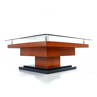 Artist Signed Modern Rosewood Wood Inlay Marquetry Pedestal Coffee Table Preview