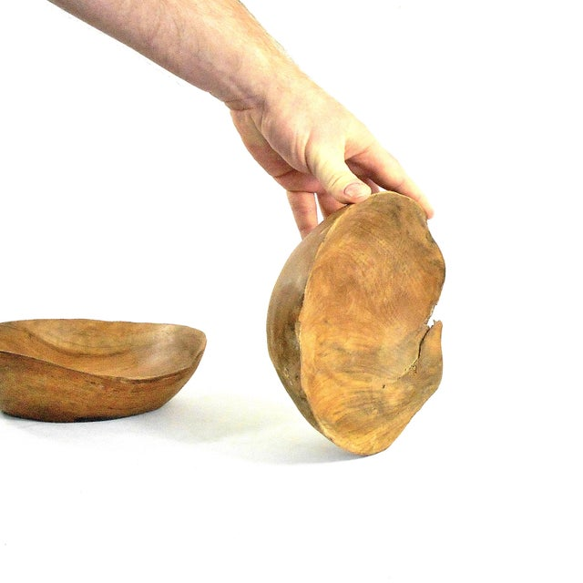 Wood Hand Carved Solid Cherry Wood Bowl For Sale - Image 7 of 9