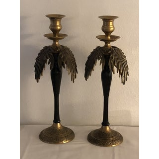 Vintage Hollywood Regency Brass & Enamel Palm Candlesticks - a Pair Preview