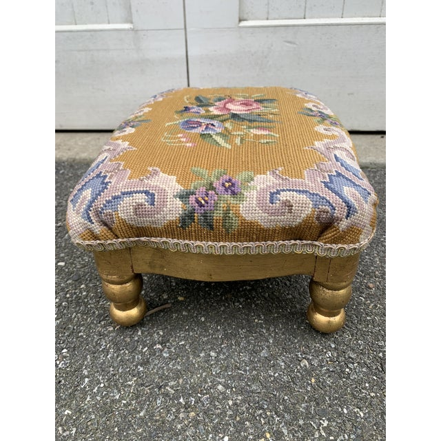 Gold Vintage Needlepoint Footstool For Sale - Image 8 of 13