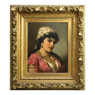 Antique Oil on Board Portrait Painting of a Young Woman by Anton Ebert For Sale