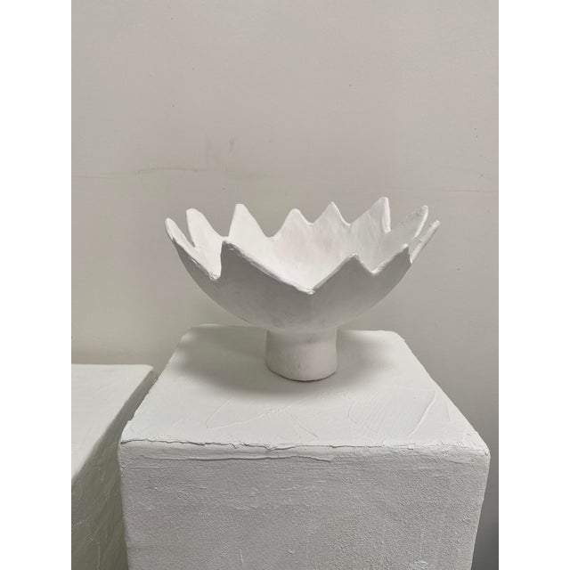 Plaster Leo Handmade Sculptural Pedestal Bowl For Sale - Image 7 of 7