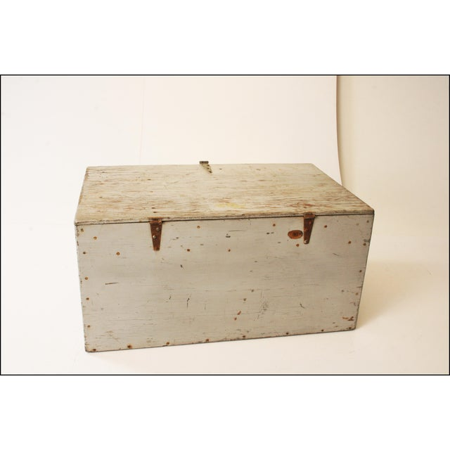 Vintage Industrial Wood Gray Military Storage Chest - Image 10 of 11
