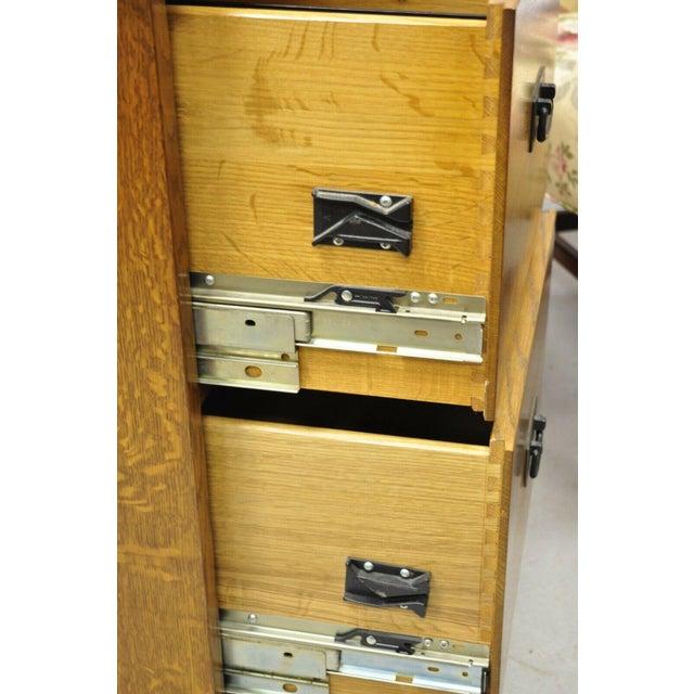 L&j G Stickley Arts & Crafts Mission Oak Wood Two Drawer Office File Cabinet For Sale In Philadelphia - Image 6 of 13