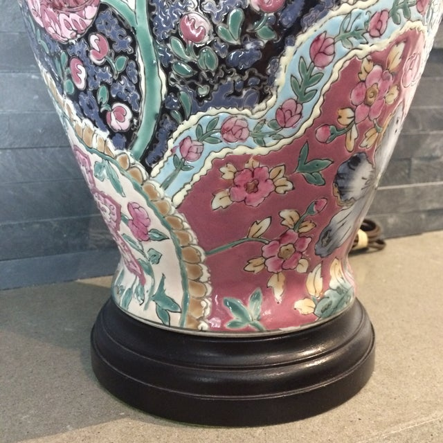 Vintage Ceramic Chinoiserie Floral Lamp For Sale In Richmond - Image 6 of 9