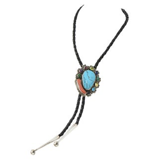 Native American Style Silver and Gemstone Leather Bollo Necklace For Sale