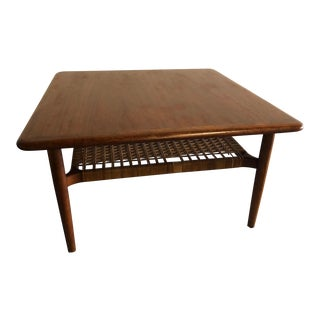 20th Century Danish Modern Johannes Andersen Rattan Shelf Coffee Table For Sale